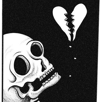 Broken Heart Skull - Original Illustration by papabaird