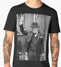 Winston, Churchill, British prime minister, V sign, Victory, 1943, WWII Men's Premium T-Shirt