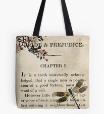 Pride and Prejudice Watercolour Tribute First Page Tote Bag