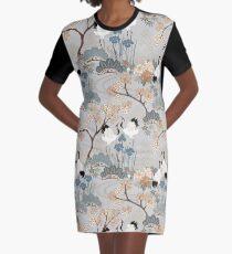Japanese Garden Gray Graphic T-Shirt Dress