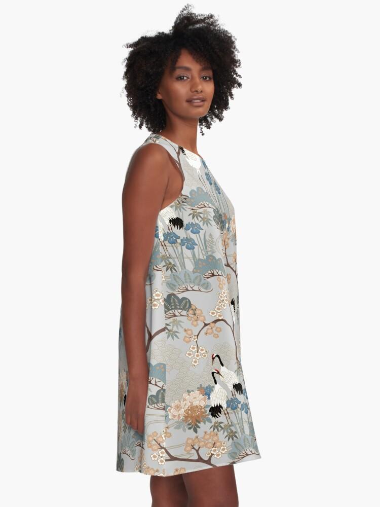 Alternate view of Japanese Garden Gray A-Line Dress