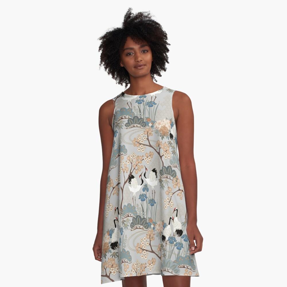 Japanese Garden Gray A-Line Dress