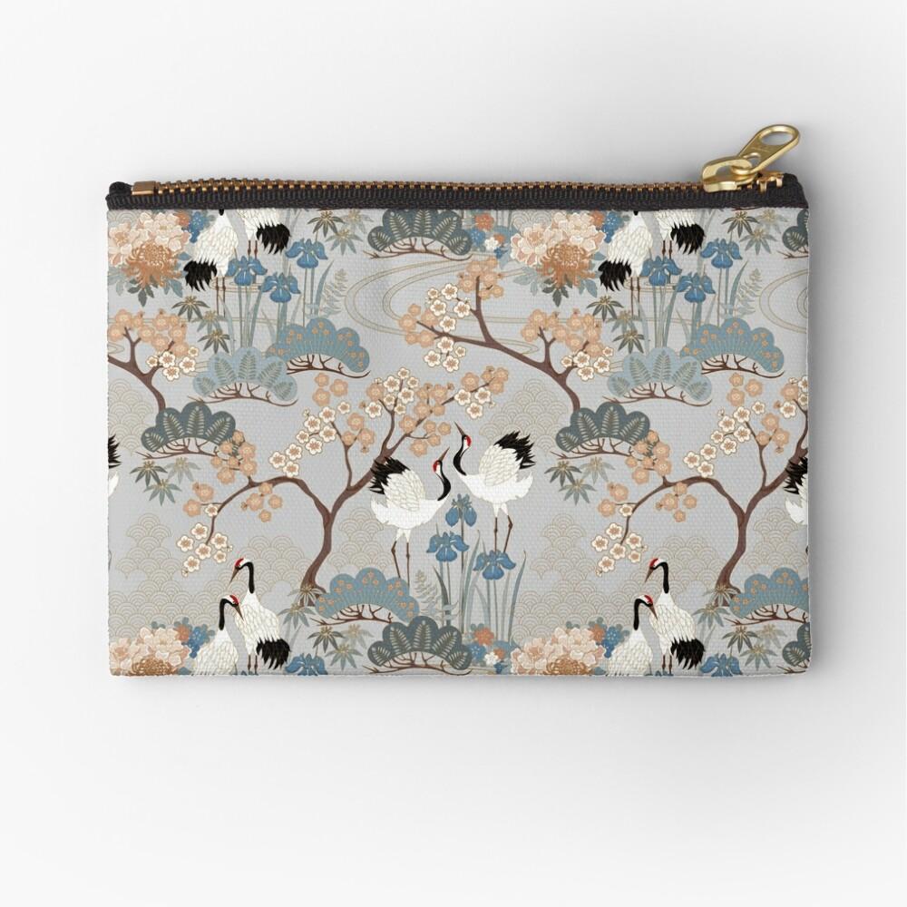 Japanese Garden Gray Zipper Pouch