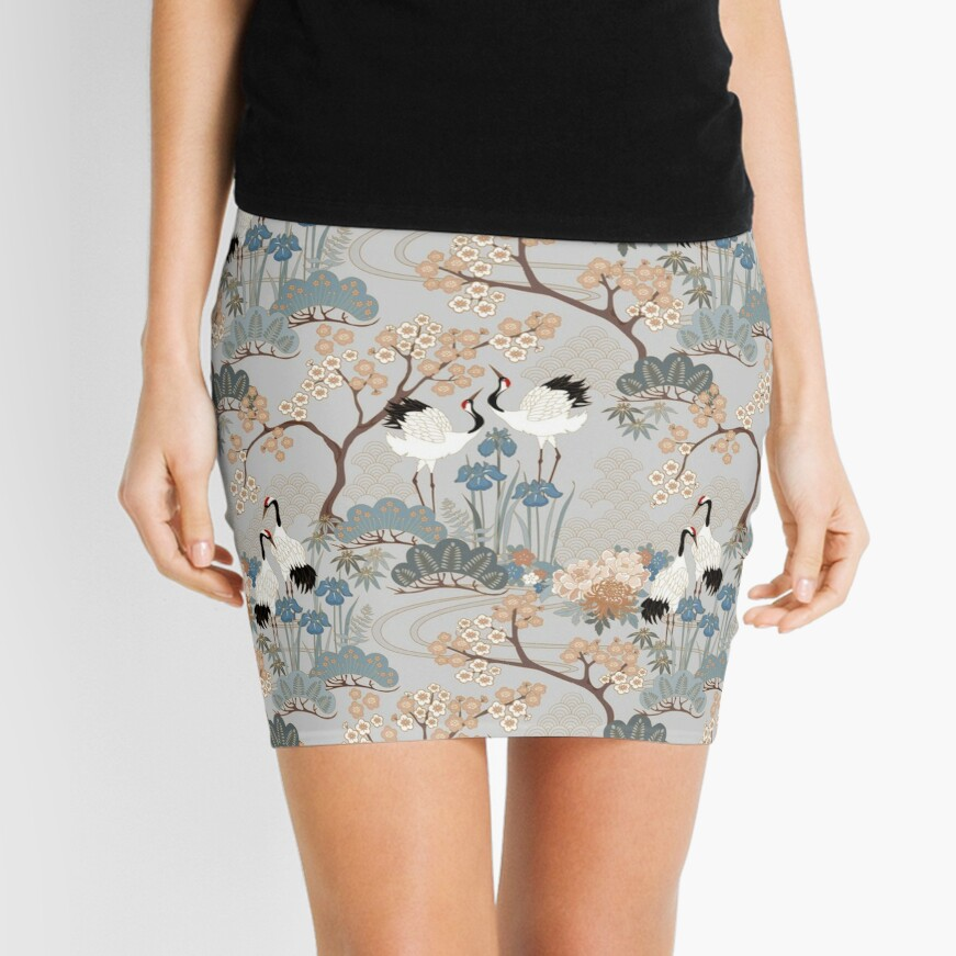 Japanese Garden Gray Mini Skirt