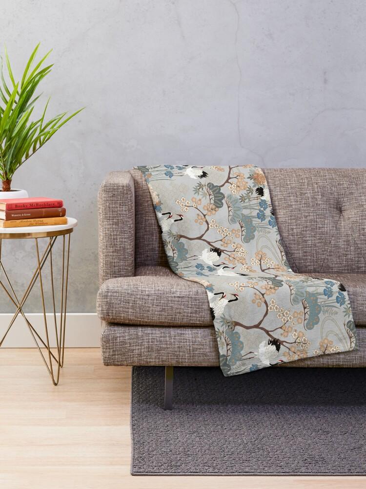 Alternate view of Japanese Garden Gray Throw Blanket