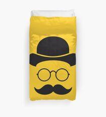Retro /Minimal vintage face with Moustache & Glasses Duvet Cover