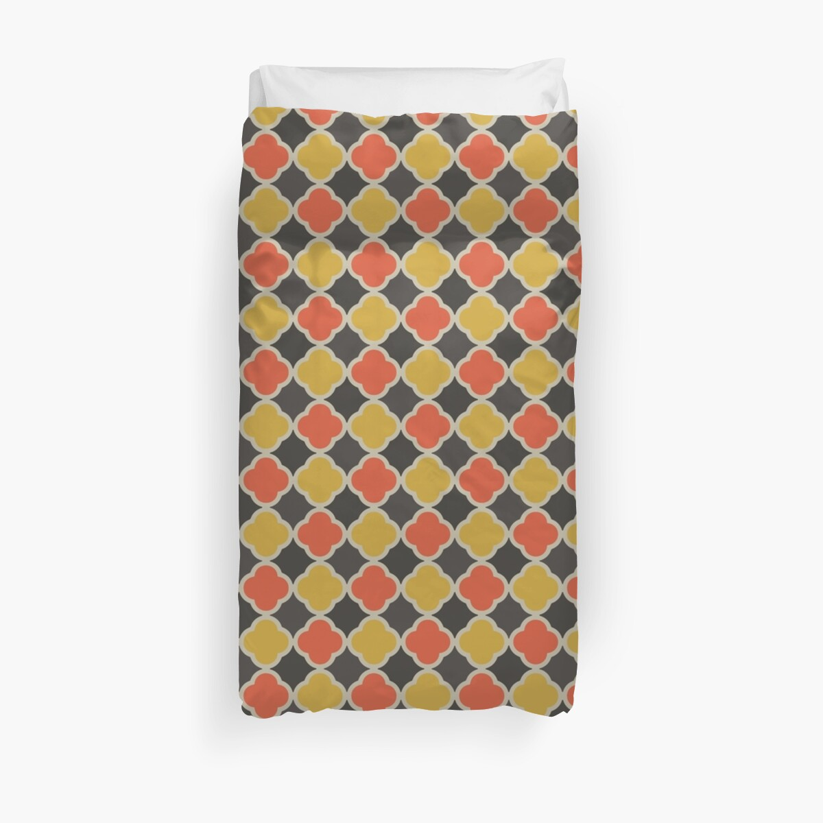 Black Orange and Yellow Quatrefoil Pattern by SaradaBoru