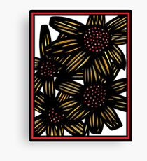 Champagne Flowers Yellow Red Black Canvas Print