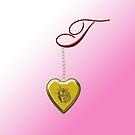 T Golden Heart Locket by Chere Lei