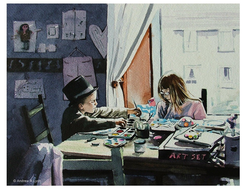 Two Budding Artists by Andrew Lyon