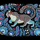 Snow Leopard Folk Art  by Anna Bucciarelli