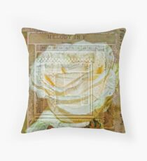 Collaged White Rose Throw Pillow