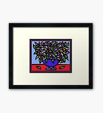 Emission Flowers Red Blue Framed Print