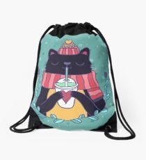 Winter cat Drawstring Bag