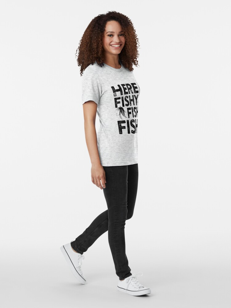 Alternate view of Here Fishy Fishy Fishy Tri-blend T-Shirt