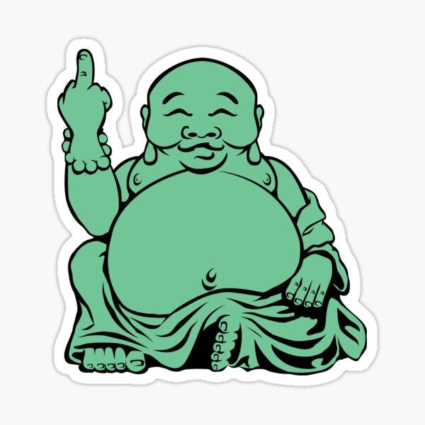 Lustiger fetter Jade Buddha, der den Vogel leicht schlägt Sticker