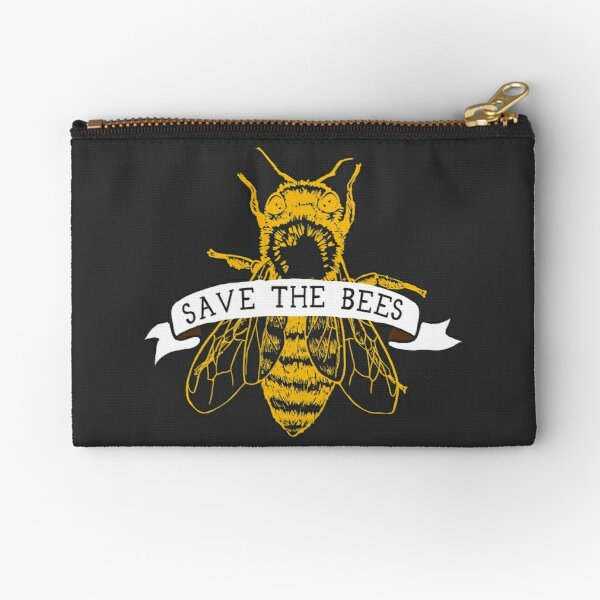 Save The Bees! (Dark) Zipper Pouch