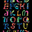 surreal alphabet black by Andi Bird