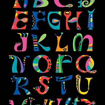 surreal alphabet black by andibird