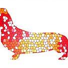 Dachshund Lovers - Abstract Red by dvampyrelestat