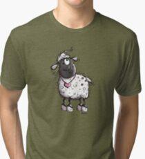 Fluffy sheep with heart - Cartoon - Farm - Cute - Gift Tri-blend T-Shirt