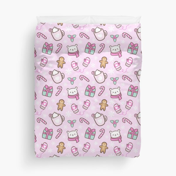 Cute Christmas // Pink | Nikury Duvet Cover