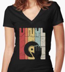 Retro Vinyl Record Turntable Women's Fitted V-Neck T-Shirt