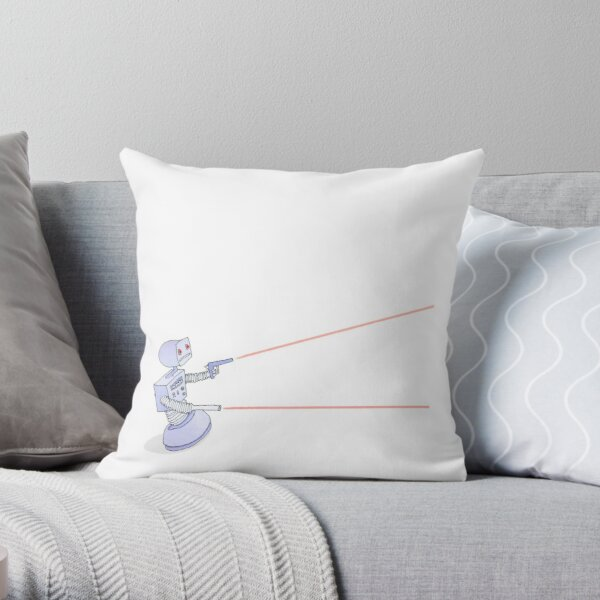 Robot with Lasers Throw Pillow