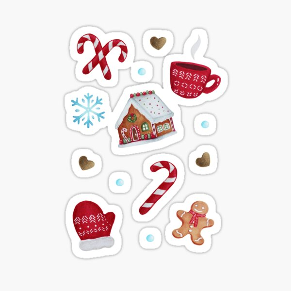 Christmas Pattern - Gingerbread and Candy Canes Sticker