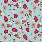Christmas Pattern - Gingerbread and Candy Canes by Ashley Van Dyken