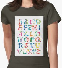 surreal alphabet white Women's Fitted T-Shirt