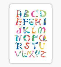 surreal alphabet white Sticker