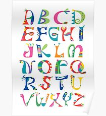 surreal alphabet white Poster