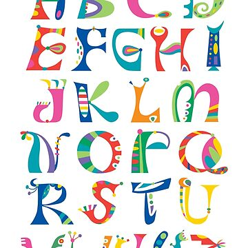 surreal alphabet white by andibird