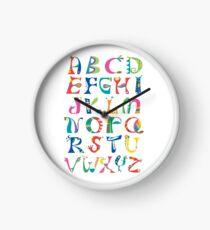 surreal alphabet white Clock