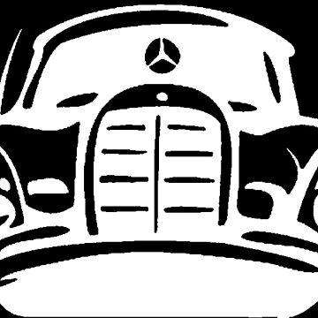 White MBZ Car Artwork by mbz-tech
