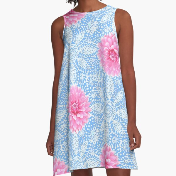Pink Dahlia flower over white lace PNG A-Line Dress