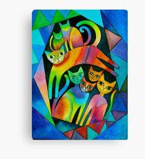 7 curious cats Canvas Print