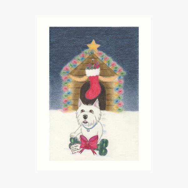 A Gift From Santa Paws Art Print
