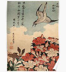 Cuckoo and azaleas Hokusai Poster