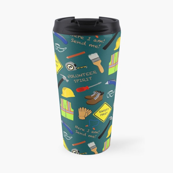 Teal safety first construction volunteer  Travel Mug