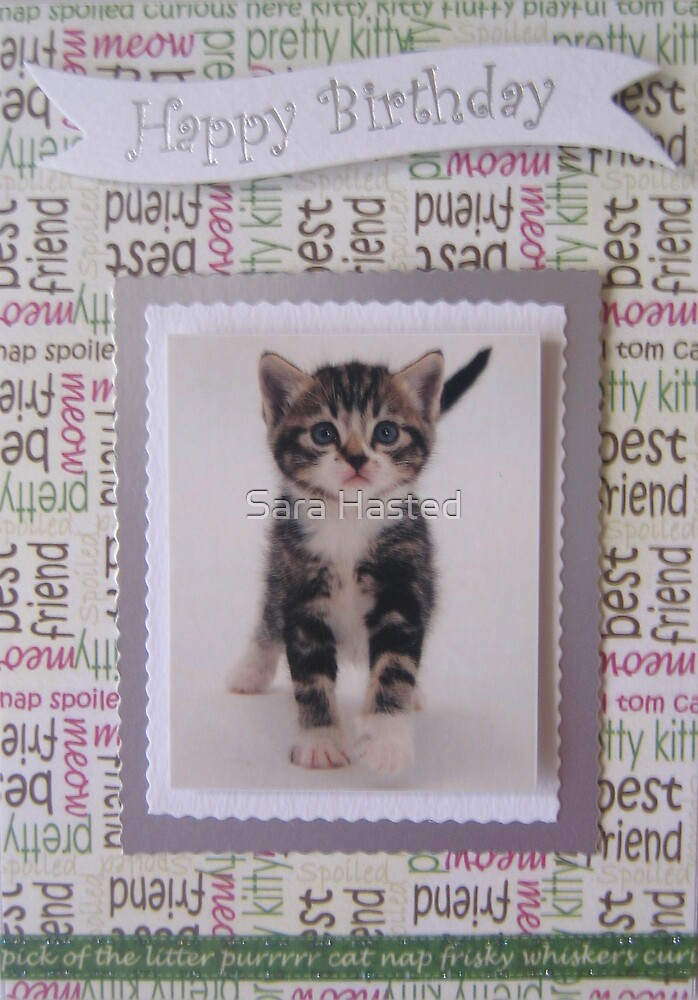Cat Birthday Card by Sara Hasted