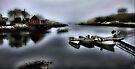 Foggy Fishing Village  by Elaine Manley