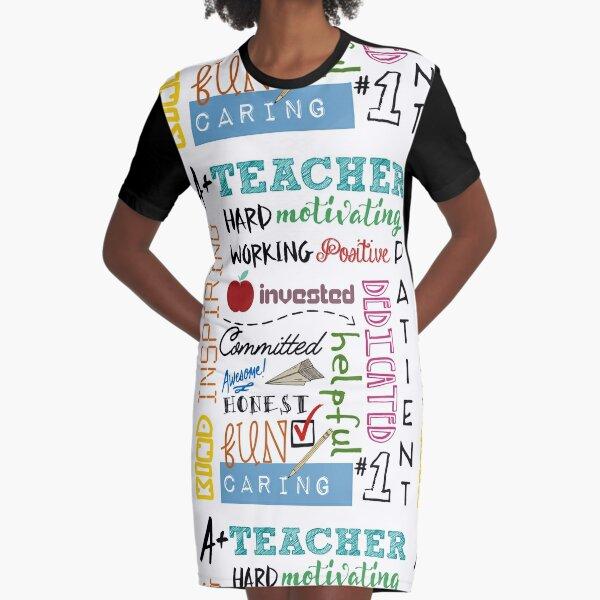 A+ Teacher Graphic T-Shirt Dress
