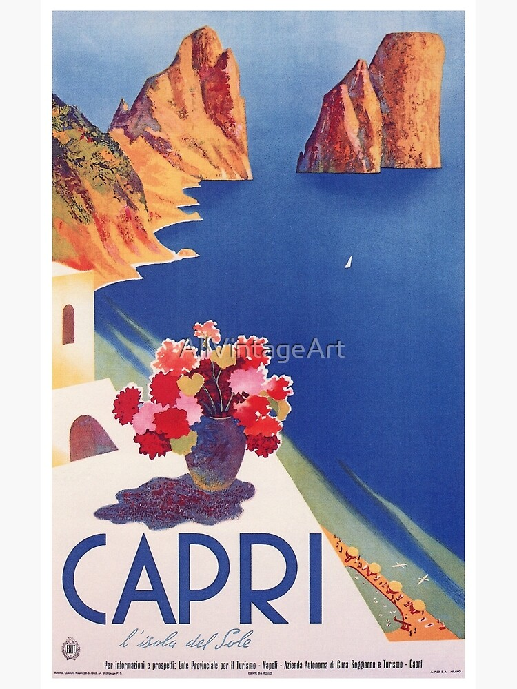 Vintage Capri Italy Travel Poster by AllVintageArt