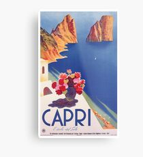 Lámina metálica Cartel de viaje Vintage Capri Italia