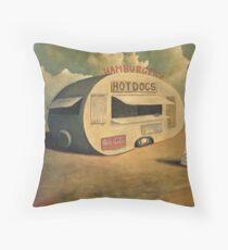 Abandoned Hotdog Van Throw Pillow