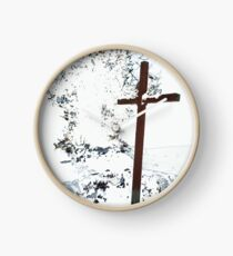 Cross in the Snow  Clock