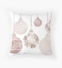 Rose gold Christmas baubles Throw Pillow