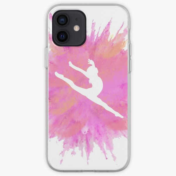 Pink Explosion Gymnastics Silhouette iPhone Soft Case